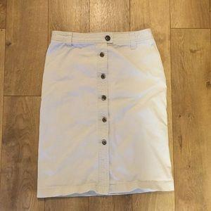 Jcrew Button Front Apron Skirt Cotton Canvas